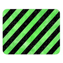 Stripes3 Black Marble & Green Watercolor Double Sided Flano Blanket (large)  by trendistuff