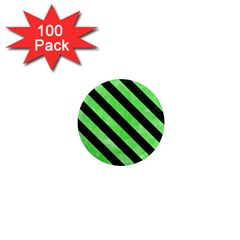 Stripes3 Black Marble & Green Watercolor (r) 1  Mini Magnets (100 Pack)  by trendistuff