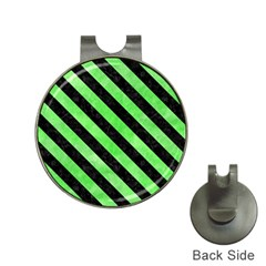 Stripes3 Black Marble & Green Watercolor (r) Hat Clips With Golf Markers by trendistuff