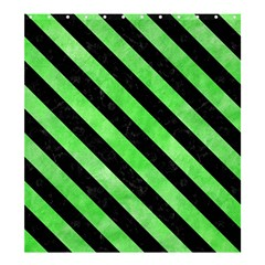 Stripes3 Black Marble & Green Watercolor (r) Shower Curtain 66  X 72  (large)  by trendistuff