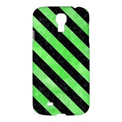 Stripes3 Black Marble & Green Watercolor (r) Samsung Galaxy S4 I9500/i9505 Hardshell Case by trendistuff