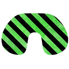 Stripes3 Black Marble & Green Watercolor (r) Travel Neck Pillows by trendistuff
