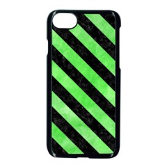 Stripes3 Black Marble & Green Watercolor (r) Apple Iphone 7 Seamless Case (black)