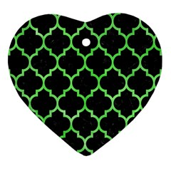 Tile1 Black Marble & Green Watercolor Heart Ornament (two Sides) by trendistuff