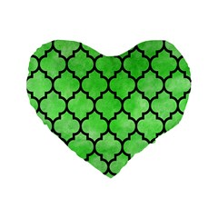 Tile1 Black Marble & Green Watercolor (r) Standard 16  Premium Flano Heart Shape Cushions by trendistuff
