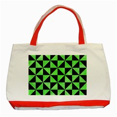 Triangle1 Black Marble & Green Watercolor Classic Tote Bag (red) by trendistuff