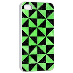 Triangle1 Black Marble & Green Watercolor Apple Iphone 4/4s Seamless Case (white) by trendistuff