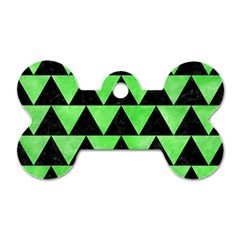 Triangle2 Black Marble & Green Watercolor Dog Tag Bone (two Sides)