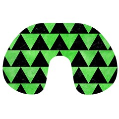 Triangle2 Black Marble & Green Watercolor Travel Neck Pillows by trendistuff