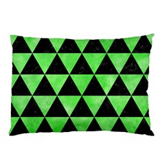 Triangle3 Black Marble & Green Watercolor Pillow Case by trendistuff