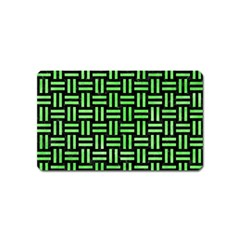 Woven1 Black Marble & Green Watercolor Magnet (name Card) by trendistuff