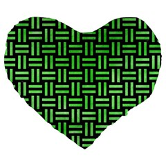 Woven1 Black Marble & Green Watercolor Large 19  Premium Heart Shape Cushions by trendistuff
