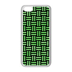 Woven1 Black Marble & Green Watercolor Apple Iphone 5c Seamless Case (white) by trendistuff