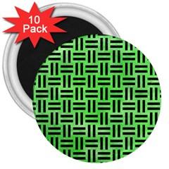 Woven1 Black Marble & Green Watercolor (r) 3  Magnets (10 Pack)  by trendistuff