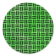 Woven1 Black Marble & Green Watercolor (r) Magnet 5  (round) by trendistuff