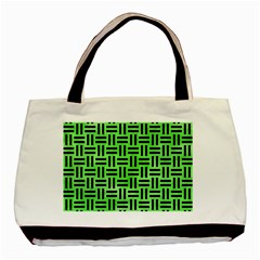 Woven1 Black Marble & Green Watercolor (r) Basic Tote Bag by trendistuff