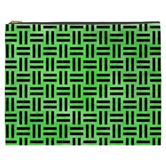 Woven1 Black Marble & Green Watercolor (r) Cosmetic Bag (xxxl)  by trendistuff