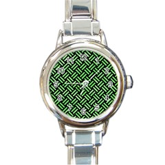 Woven2 Black Marble & Green Watercolor Round Italian Charm Watch by trendistuff