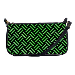Woven2 Black Marble & Green Watercolor Shoulder Clutch Bags by trendistuff