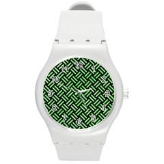 Woven2 Black Marble & Green Watercolor Round Plastic Sport Watch (m) by trendistuff