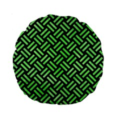 Woven2 Black Marble & Green Watercolor Standard 15  Premium Round Cushions by trendistuff