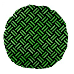 Woven2 Black Marble & Green Watercolor Large 18  Premium Round Cushions by trendistuff