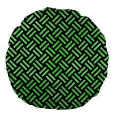 Woven2 Black Marble & Green Watercolor Large 18  Premium Flano Round Cushions by trendistuff