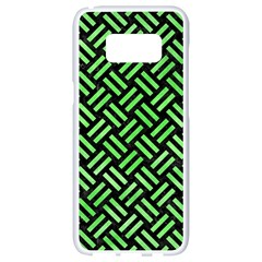 Woven2 Black Marble & Green Watercolor Samsung Galaxy S8 White Seamless Case by trendistuff