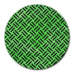Woven2 Black Marble & Green Watercolor (r) Round Mousepads by trendistuff