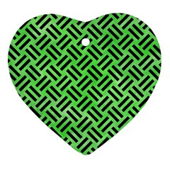 Woven2 Black Marble & Green Watercolor (r) Heart Ornament (two Sides) by trendistuff