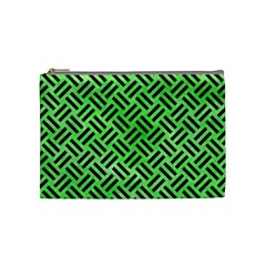Woven2 Black Marble & Green Watercolor (r) Cosmetic Bag (medium)  by trendistuff