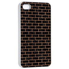 Brick1 Black Marble & Light Maple Wood Apple Iphone 4/4s Seamless Case (white) by trendistuff