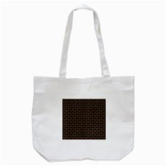 Brick1 Black Marble & Light Maple Wood Tote Bag (white) by trendistuff