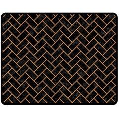 Brick2 Black Marble & Light Maple Wood Fleece Blanket (medium)  by trendistuff