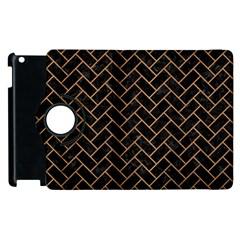 Brick2 Black Marble & Light Maple Wood Apple Ipad 3/4 Flip 360 Case by trendistuff