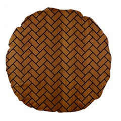 Brick2 Black Marble & Light Maple Wood (r) Large 18  Premium Flano Round Cushions by trendistuff