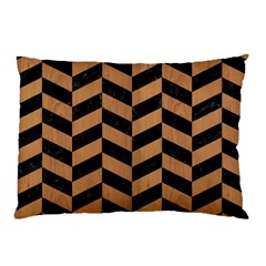 Chevron1 Black Marble & Light Maple Wood Pillow Case by trendistuff