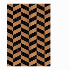 Chevron1 Black Marble & Light Maple Wood Small Garden Flag (two Sides) by trendistuff