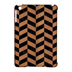 Chevron1 Black Marble & Light Maple Wood Apple Ipad Mini Hardshell Case (compatible With Smart Cover) by trendistuff