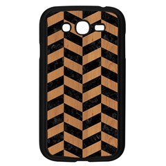 Chevron1 Black Marble & Light Maple Wood Samsung Galaxy Grand Duos I9082 Case (black) by trendistuff