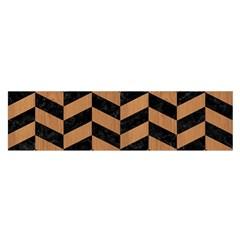 Chevron1 Black Marble & Light Maple Wood Satin Scarf (oblong) by trendistuff