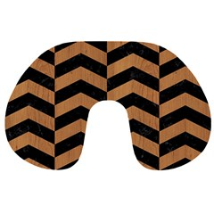 Chevron2 Black Marble & Light Maple Wood Travel Neck Pillows by trendistuff