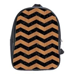 Chevron3 Black Marble & Light Maple Wood School Bag (large) by trendistuff