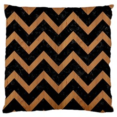 Chevron9 Black Marble & Light Maple Wood Large Cushion Case (two Sides) by trendistuff