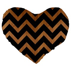 Chevron9 Black Marble & Light Maple Wood Large 19  Premium Heart Shape Cushions by trendistuff
