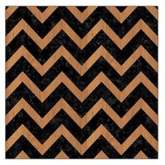 Chevron9 Black Marble & Light Maple Wood Large Satin Scarf (square) by trendistuff