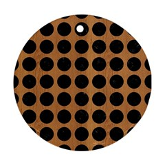 Circles1 Black Marble & Light Maple Wood (r) Round Ornament (two Sides) by trendistuff