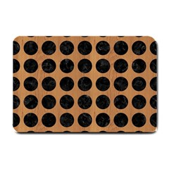 Circles1 Black Marble & Light Maple Wood (r) Small Doormat  by trendistuff