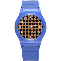 Circles1 Black Marble & Light Maple Wood (r) Round Plastic Sport Watch (s) by trendistuff