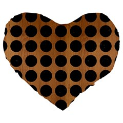 Circles1 Black Marble & Light Maple Wood (r) Large 19  Premium Heart Shape Cushions by trendistuff